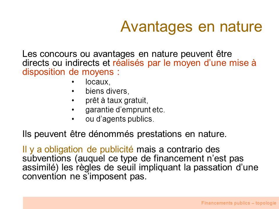 Avantages en nature Les concours ou avantages en nature peuvent être directs ou indirects et réalisés par le moyen dune mise à disposition de moyens :