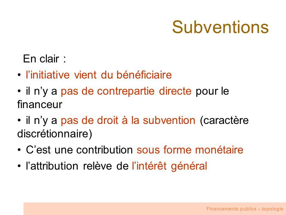 Subventions En clair : linitiative vient du bénéficiaire il ny a pas de contrepartie directe pour le financeur il ny a pas de droit à la subvention (c