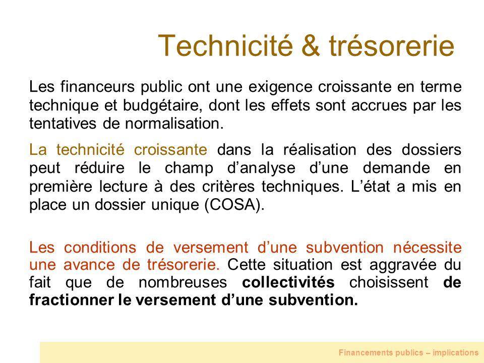 Technicité & trésorerie Les financeurs public ont une exigence croissante en terme technique et budgétaire, dont les effets sont accrues par les tenta