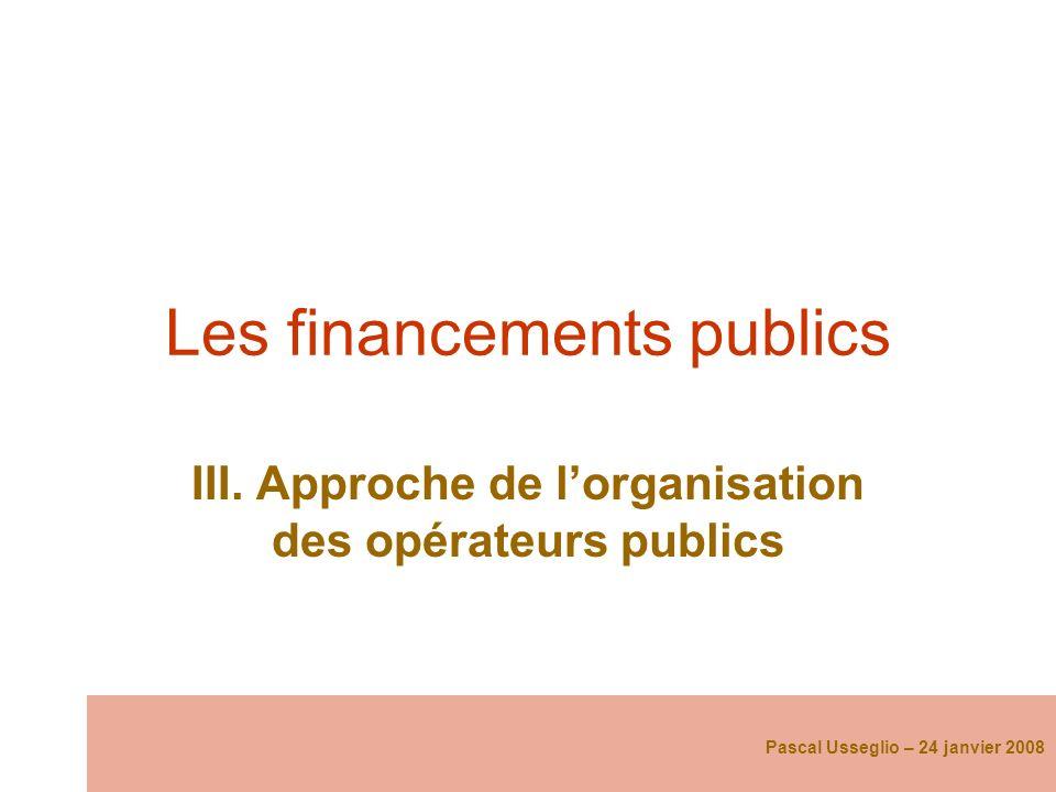 Les financements publics III. Approche de lorganisation des opérateurs publics Pascal Usseglio – 24 janvier 2008