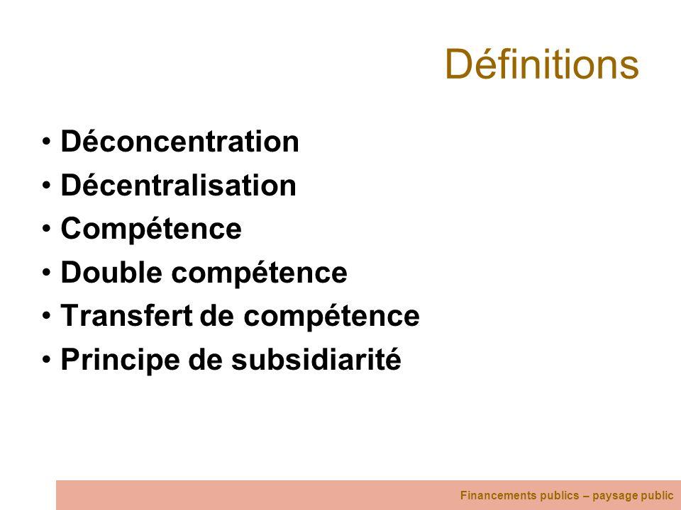 Définitions Déconcentration Décentralisation Compétence Double compétence Transfert de compétence Principe de subsidiarité Financements publics – pays
