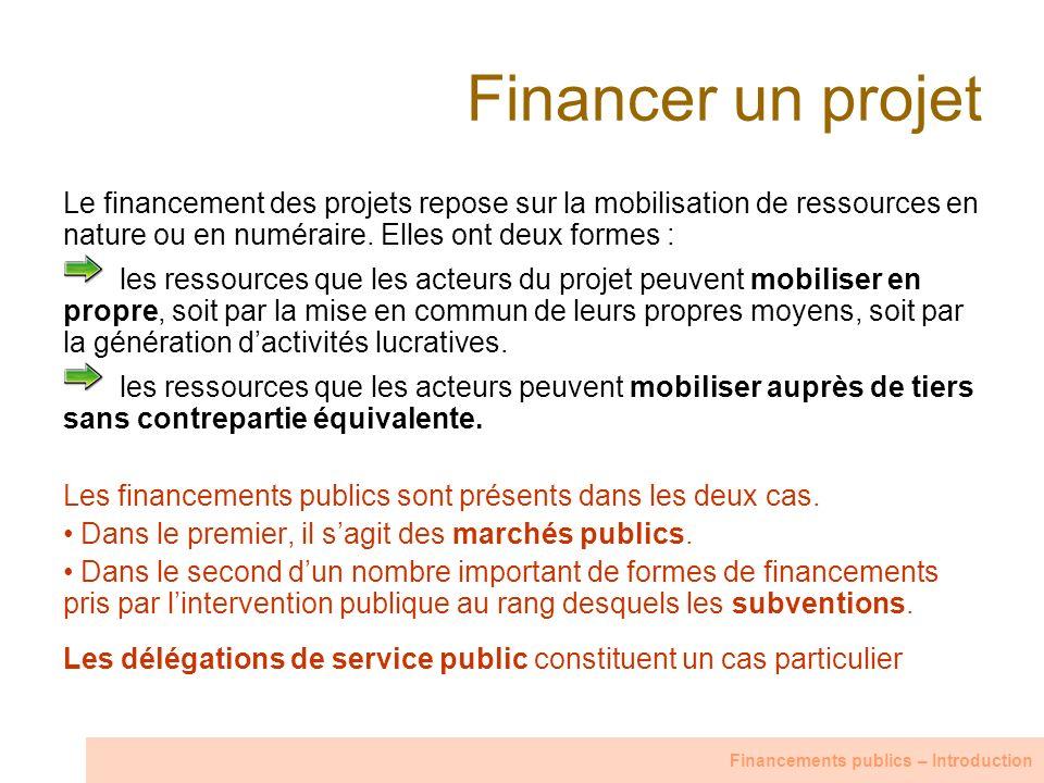 Financer un projet Le financement des projets repose sur la mobilisation de ressources en nature ou en numéraire. Elles ont deux formes : les ressourc