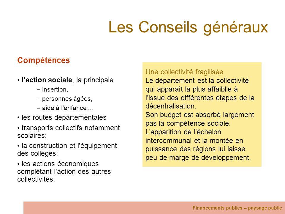 Les Conseils généraux Compétences l'action sociale, la principale – insertion, – personnes âgées, – aide à l'enfance … les routes départementales tran