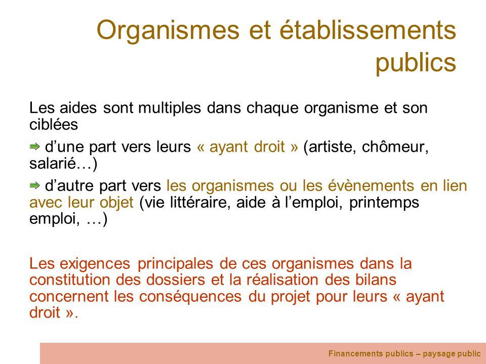 Organismes et établissements publics Les aides sont multiples dans chaque organisme et son ciblées dune part vers leurs « ayant droit » (artiste, chôm