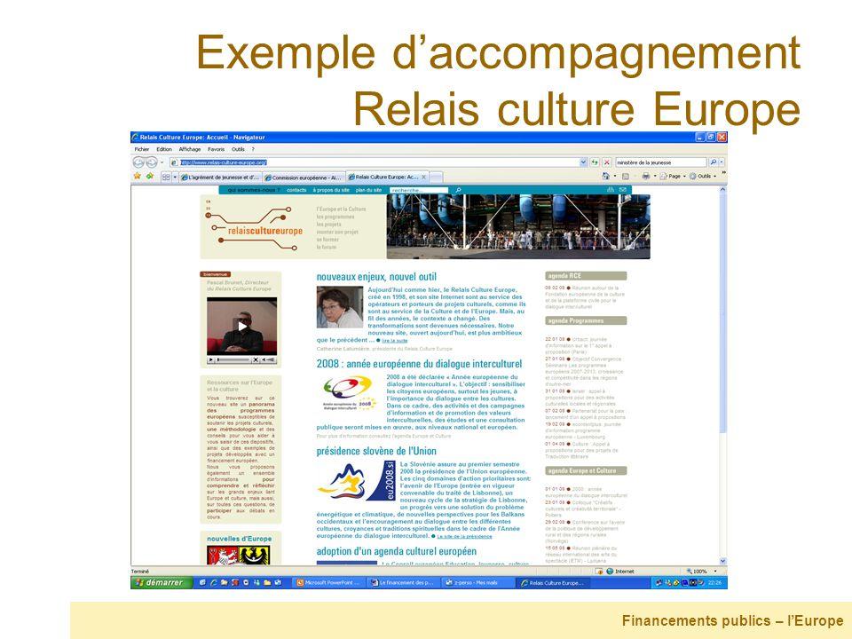 Exemple daccompagnement Relais culture Europe Financements publics – lEurope