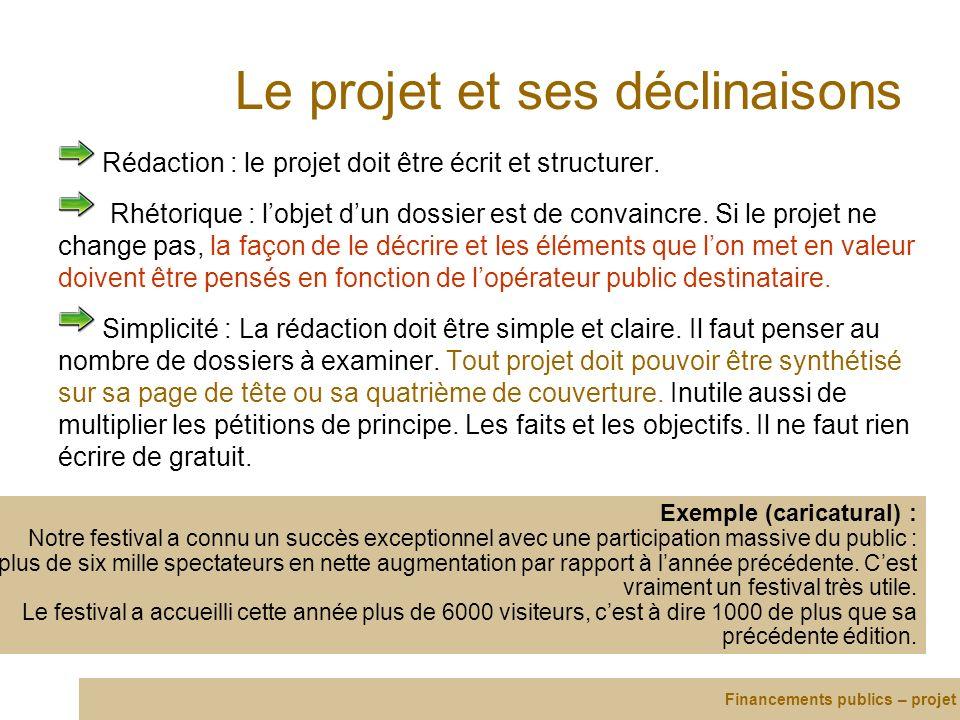 Le projet et ses déclinaisons Rédaction : le projet doit être écrit et structurer. Rhétorique : lobjet dun dossier est de convaincre. Si le projet ne