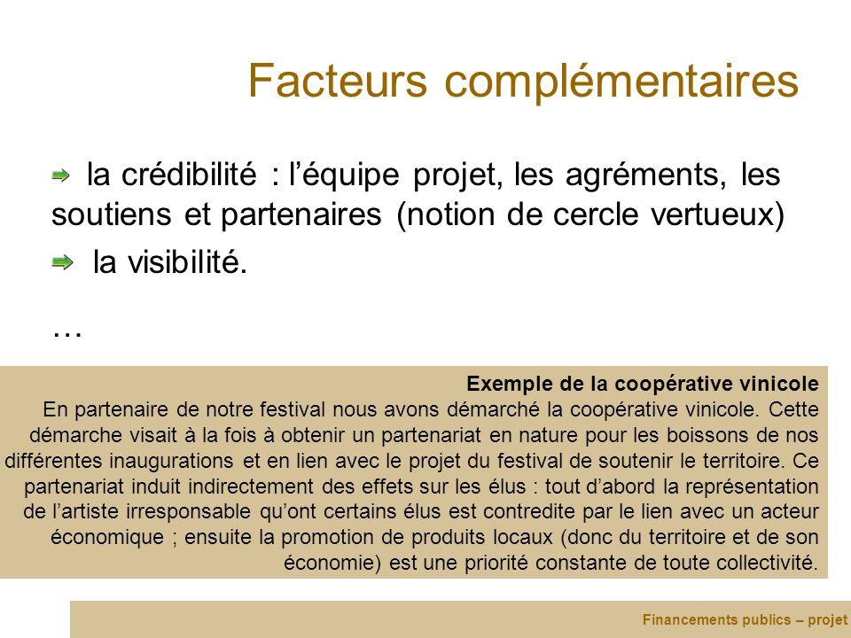 Facteurs complémentaires la crédibilité : léquipe projet, les agréments, les soutiens et partenaires (notion de cercle vertueux) la visibilité. … Fina