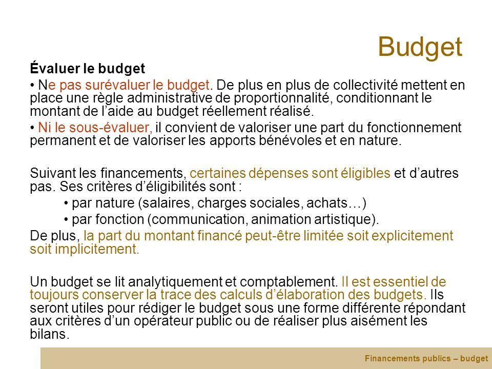 Budget Évaluer le budget Ne pas surévaluer le budget. De plus en plus de collectivité mettent en place une règle administrative de proportionnalité, c