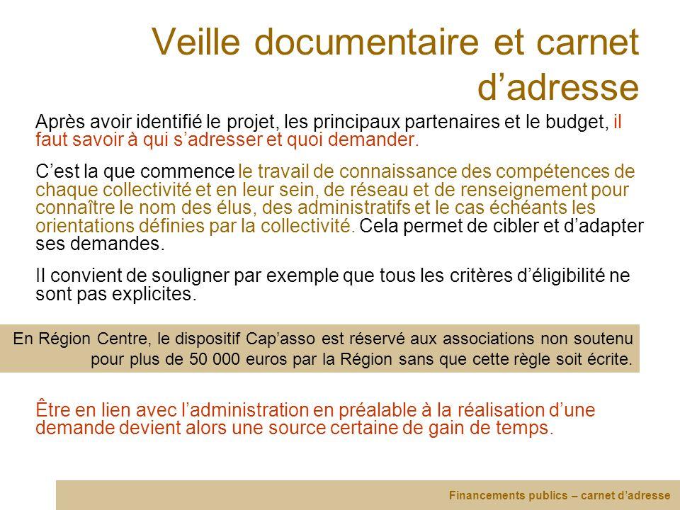 Veille documentaire et carnet dadresse Après avoir identifié le projet, les principaux partenaires et le budget, il faut savoir à qui sadresser et quo