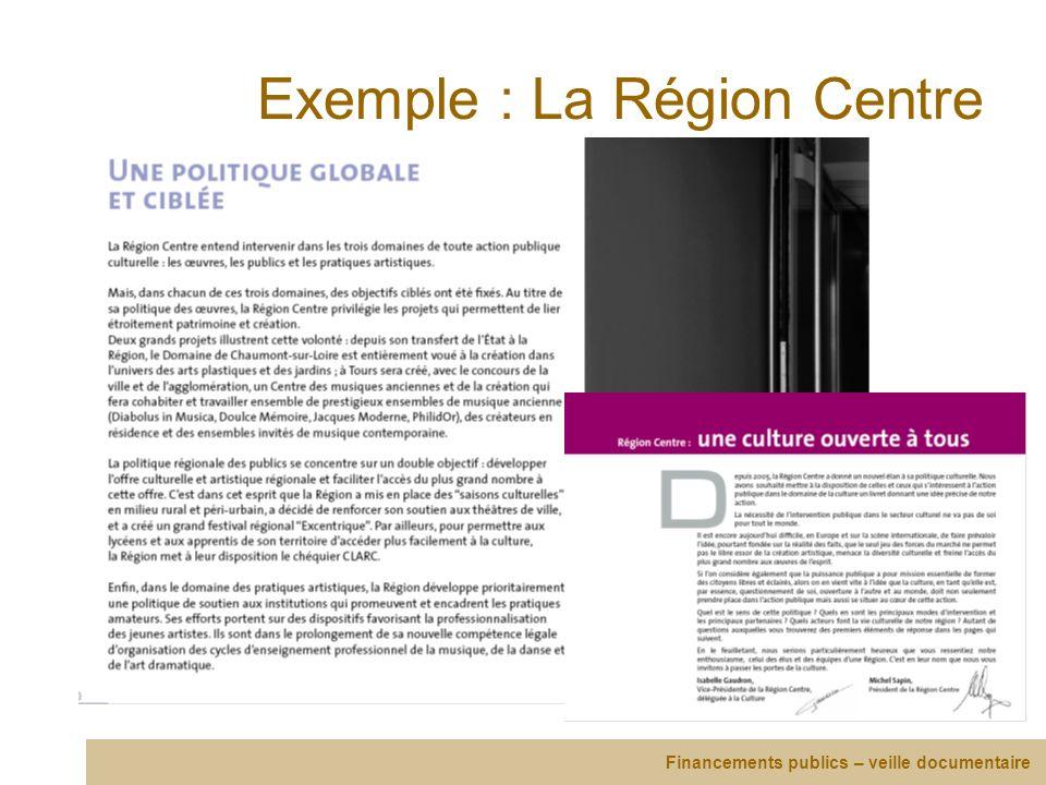 Exemple : La Région Centre Financements publics – veille documentaire