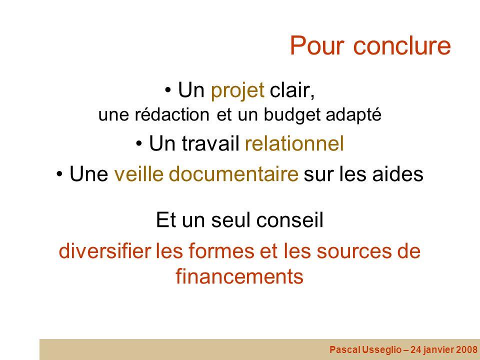 Pour conclure Un projet clair, une rédaction et un budget adapté Un travail relationnel Une veille documentaire sur les aides Et un seul conseil diver