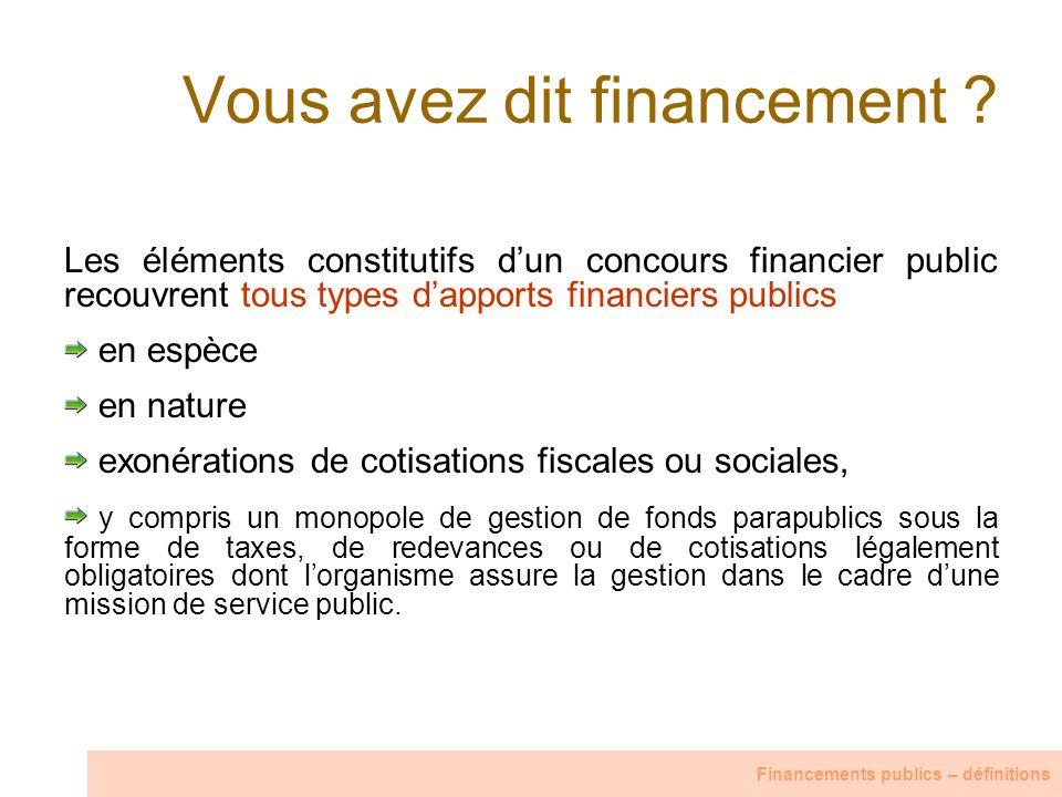 Vous avez dit financement ? Les éléments constitutifs dun concours financier public recouvrent tous types dapports financiers publics en espèce en nat