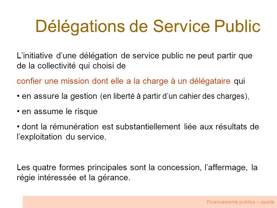 Délégations de Service Public Linitiative dune délégation de service public ne peut partir que de la collectivité qui choisi de confier une mission do