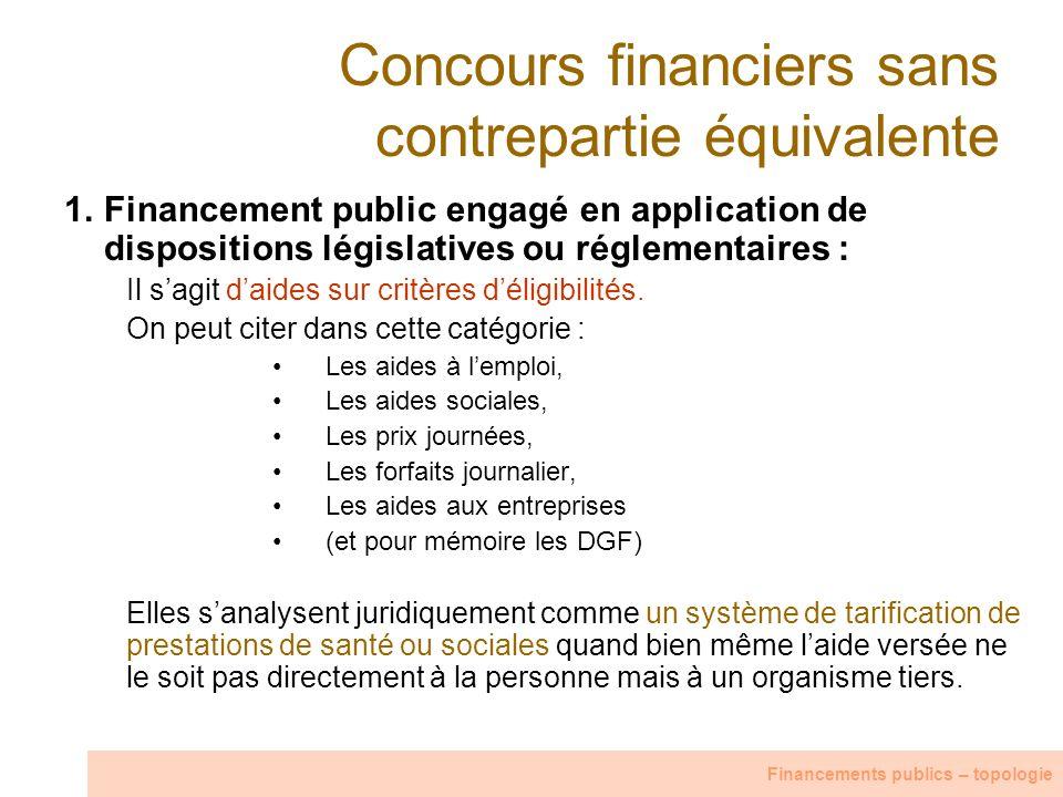 Concours financiers sans contrepartie équivalente 1.Financement public engagé en application de dispositions législatives ou réglementaires : Il sagit