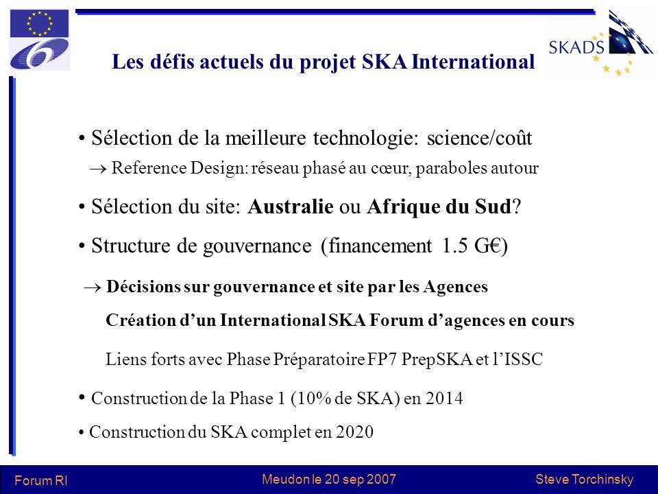 Steve Torchinsky Forum RI Meudon le 20 sep 2007 Les défis actuels du projet SKA International Sélection de la meilleure technologie: science/coût Refe