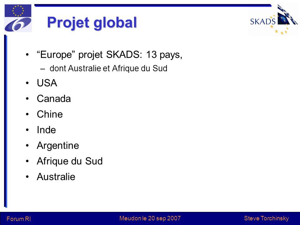 Steve Torchinsky Forum RI Meudon le 20 sep 2007 Projet global Europe projet SKADS: 13 pays, –dont Australie et Afrique du Sud USA Canada Chine Inde Ar