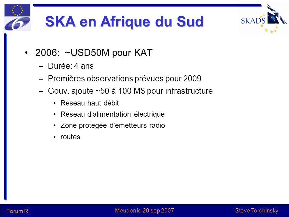 Steve Torchinsky Forum RI Meudon le 20 sep 2007 SKA en Afrique du Sud 2006: ~USD50M pour KAT –Durée: 4 ans –Premières observations prévues pour 2009 –