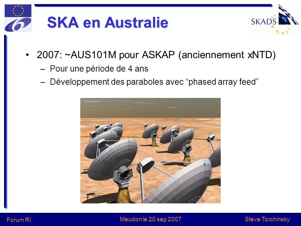 Steve Torchinsky Forum RI Meudon le 20 sep 2007 SKA en Australie 2007: ~AUS101M pour ASKAP (anciennement xNTD) –Pour une période de 4 ans –Développeme