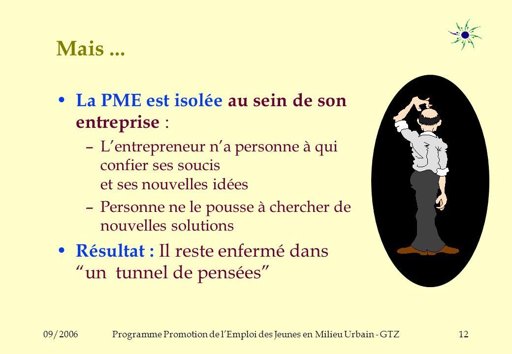 09/2006Programme Promotion de lEmploi des Jeunes en Milieu Urbain - GTZ11 b) Analyse Socio-économique Il existe beaucoup de PME dynamiques qui sont: –flexibles –créatives –sérieuses –courageuses –avec esprit entrepreneurial...