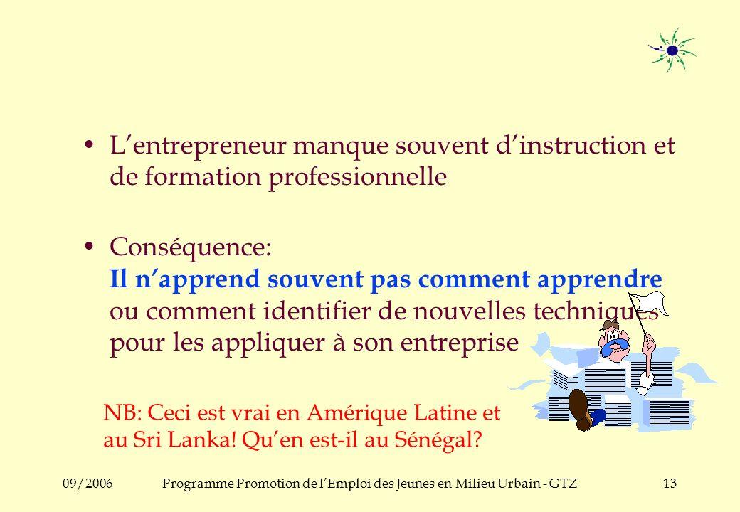 09/2006Programme Promotion de lEmploi des Jeunes en Milieu Urbain - GTZ12 Mais... La PME est isolée au sein de son entreprise : –Lentrepreneur na pers