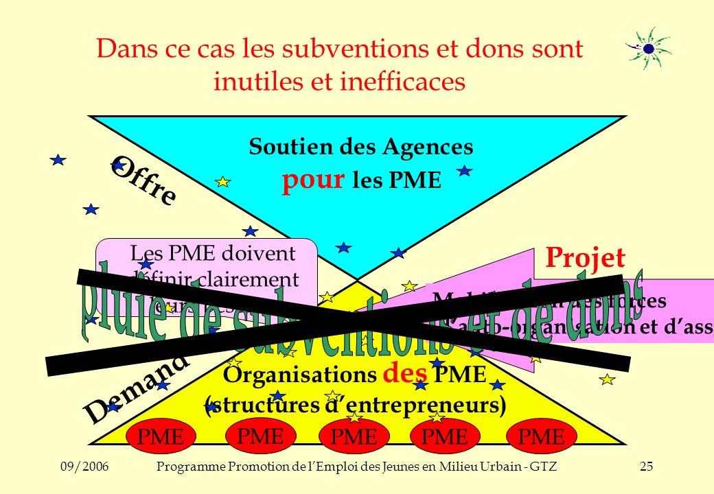 09/2006Programme Promotion de lEmploi des Jeunes en Milieu Urbain - GTZ24 Mobilisation des forces dauto organisation : en vue de stimuler, structurer