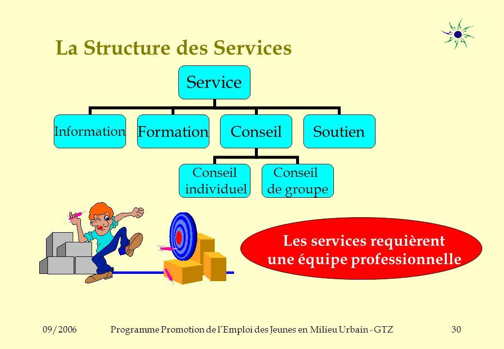 09/2006Programme Promotion de lEmploi des Jeunes en Milieu Urbain - GTZ29 Services – Pourquoi.