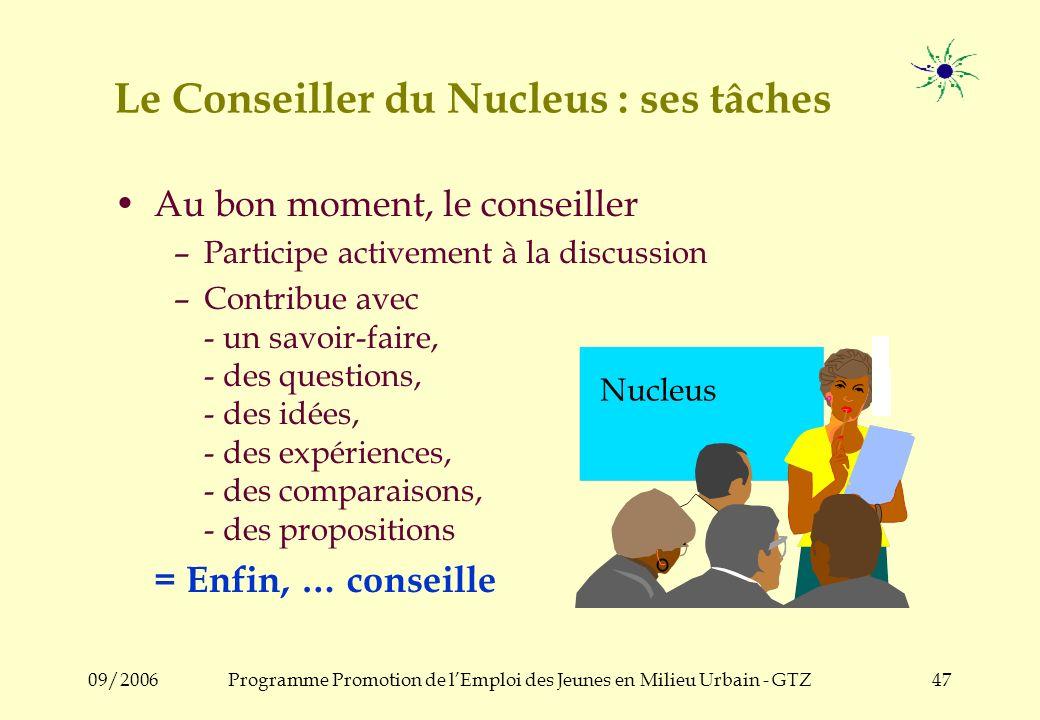 09/2006Programme Promotion de lEmploi des Jeunes en Milieu Urbain - GTZ46 Le Conseiller du Nucleus : ses tâches Stimulation et organisation du process