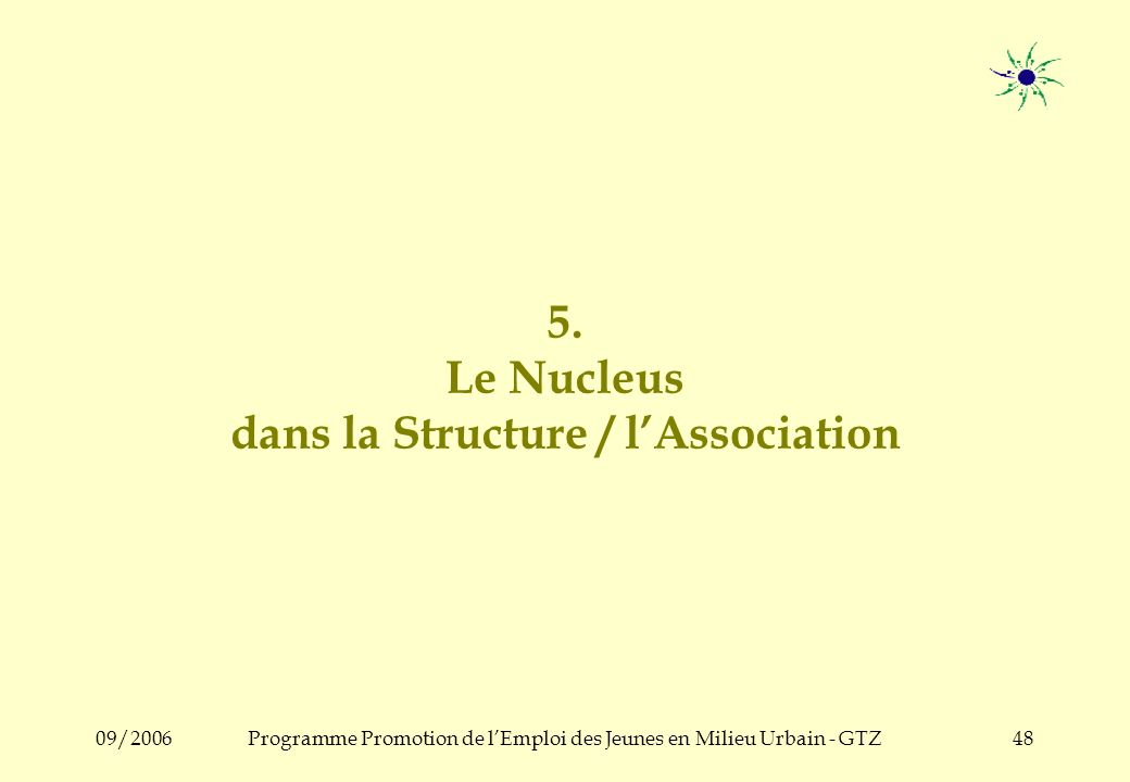 09/2006Programme Promotion de lEmploi des Jeunes en Milieu Urbain - GTZ47 Le Conseiller du Nucleus : ses tâches Au bon moment, le conseiller –Particip