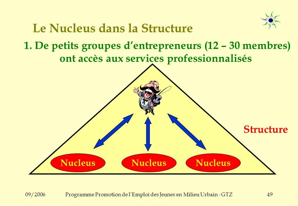 09/2006Programme Promotion de lEmploi des Jeunes en Milieu Urbain - GTZ48 5. Le Nucleus dans la Structure / lAssociation