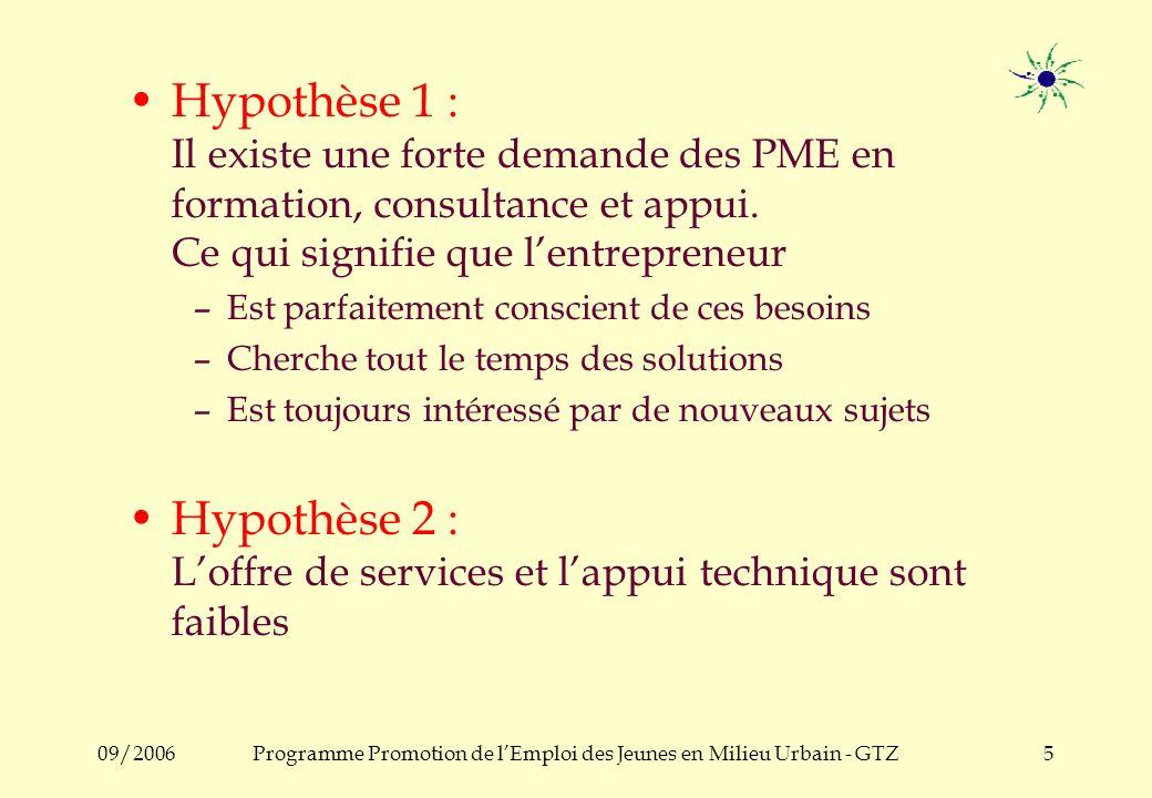 09/2006Programme Promotion de lEmploi des Jeunes en Milieu Urbain - GTZ4 a) Analyse Technique Faible niveau dorganisation, de conception et de gestion