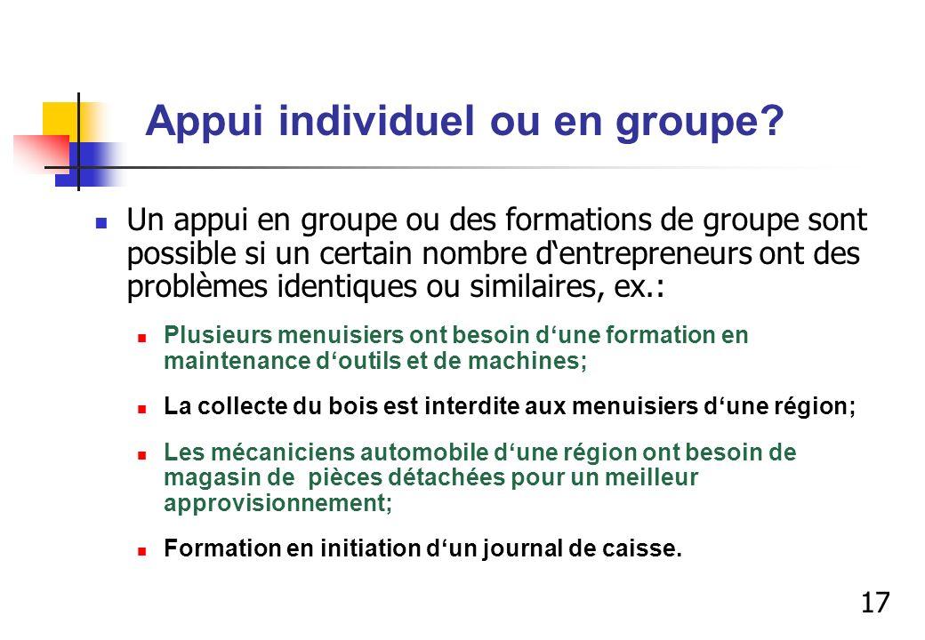 Appui individuel ou en groupe? Un appui en groupe ou des formations de groupe sont possible si un certain nombre dentrepreneurs ont des problèmes iden