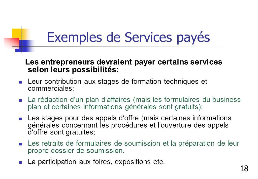 Exemples de Services payés Les entrepreneurs devraient payer certains services selon leurs possibilités: Leur contribution aux stages de formation tec