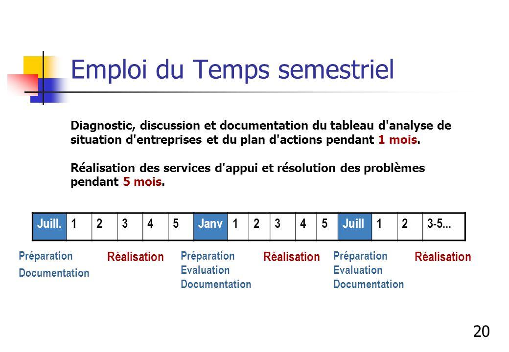 Emploi du Temps semestriel Diagnostic, discussion et documentation du tableau d'analyse de situation d'entreprises et du plan d'actions pendant 1 mois
