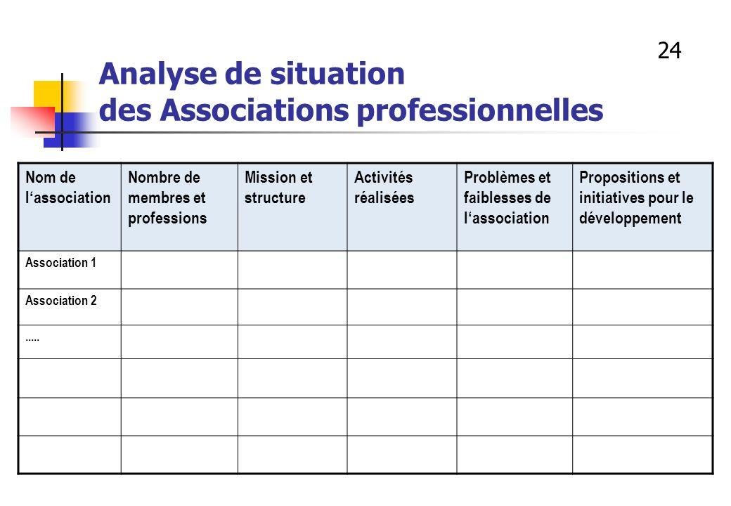 Analyse de situation des Associations professionnelles Nom de lassociation Nombre de membres et professions Mission et structure Activités réalisées P
