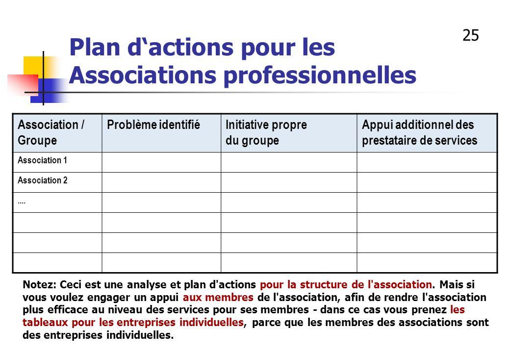 Plan dactions pour les Associations professionnelles Association / Groupe Problème identifiéInitiative propre du groupe Appui additionnel des prestata