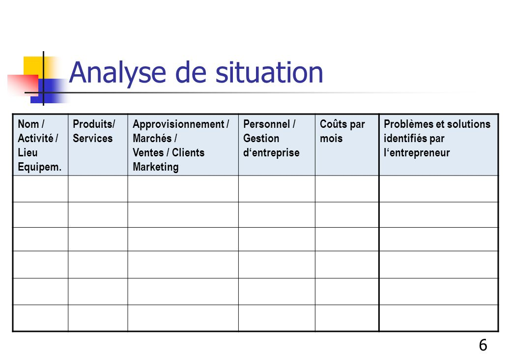 Analyse de situation Nom / Activité / Lieu Equipem. Produits/ Services Approvisionnement / Marchés / Ventes / Clients Marketing Personnel / Gestion de