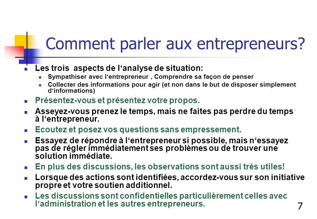 Comment parler aux entrepreneurs? Les trois aspects de lanalyse de situation: Sympathiser avec lentrepreneur, Comprendre sa façon de penser Collecter