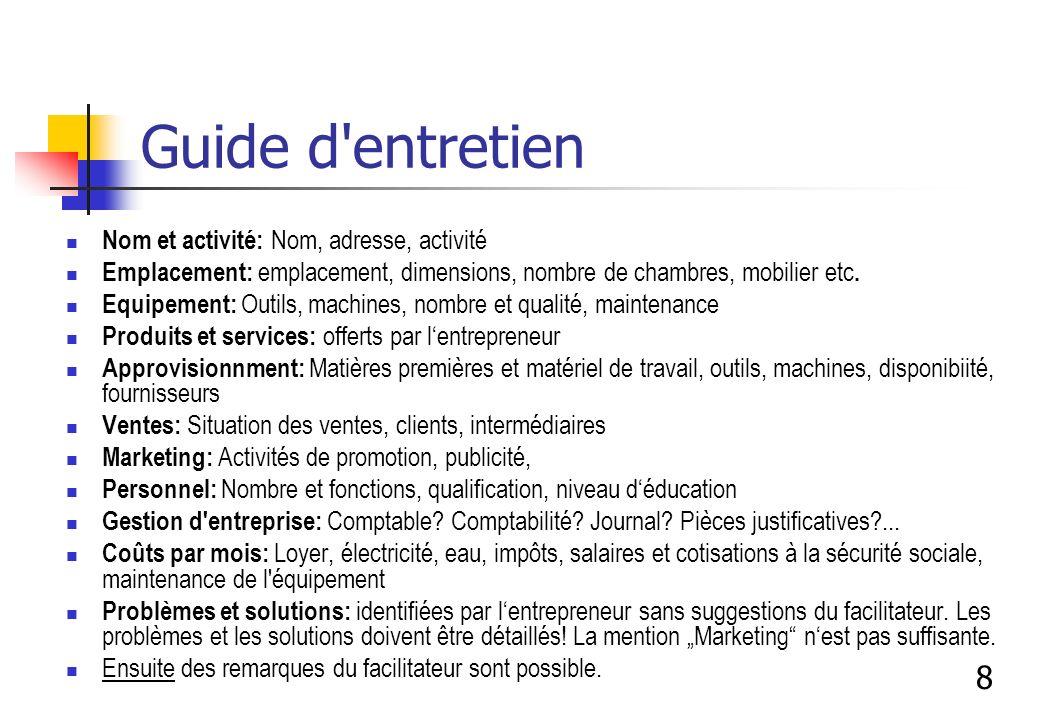 Guide d'entretien Nom et activité: Nom, adresse, activité Emplacement: emplacement, dimensions, nombre de chambres, mobilier etc. Equipement: Outils,
