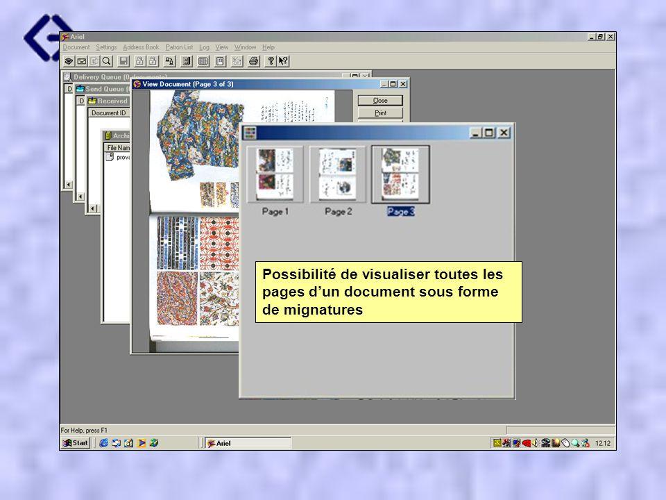 Possibilité de visualiser toutes les pages dun document sous forme de mignatures