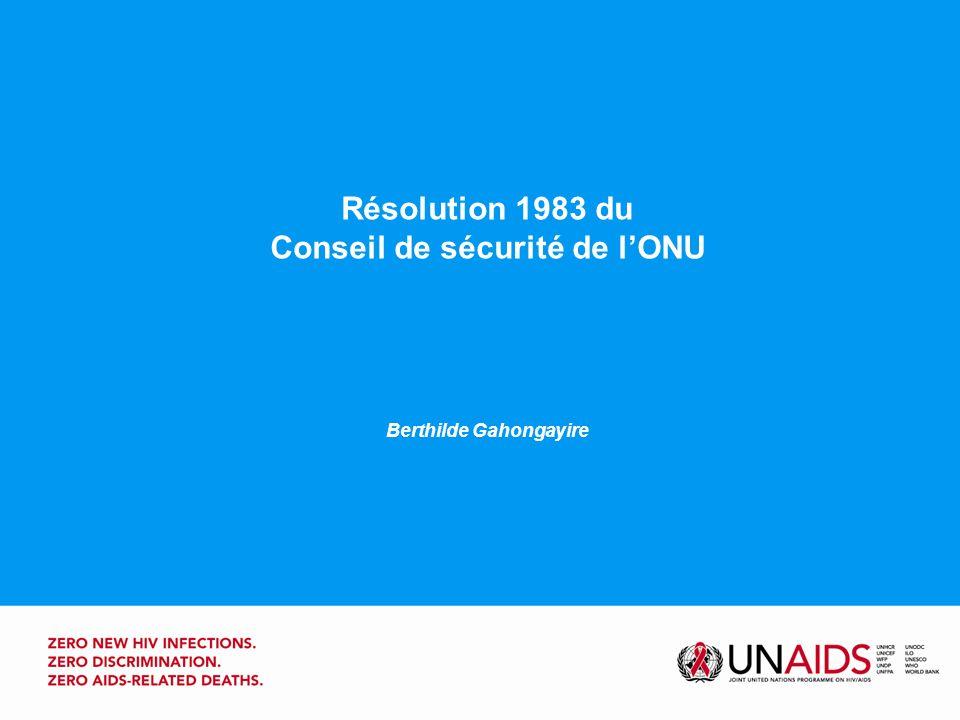 La résolution 1983 du Conseil de sécurité Rés.1308Rés.1983 La résolution 1308, adoptée le 17 juillet 2000, est la première à traiter des effets, sur la paix et la sécurité internationales, dune menace mondiale pour la santé publique.