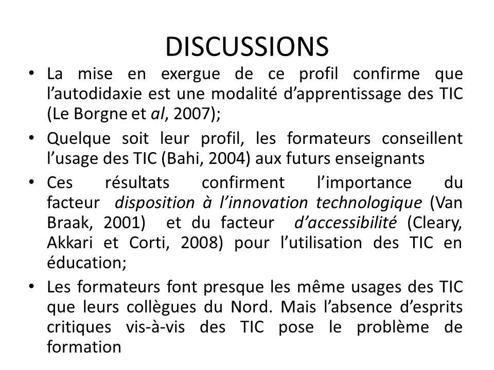 DISCUSSIONS La mise en exergue de ce profil confirme que lautodidaxie est une modalité dapprentissage des TIC (Le Borgne et al, 2007); Quelque soit le