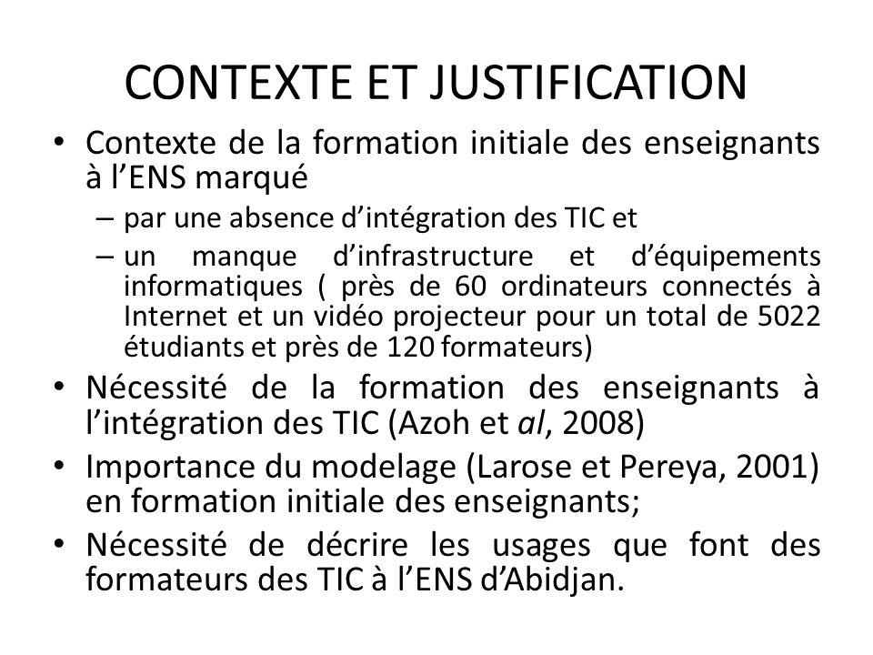 CONTEXTE ET JUSTIFICATION Contexte de la formation initiale des enseignants à lENS marqué – par une absence dintégration des TIC et – un manque dinfra