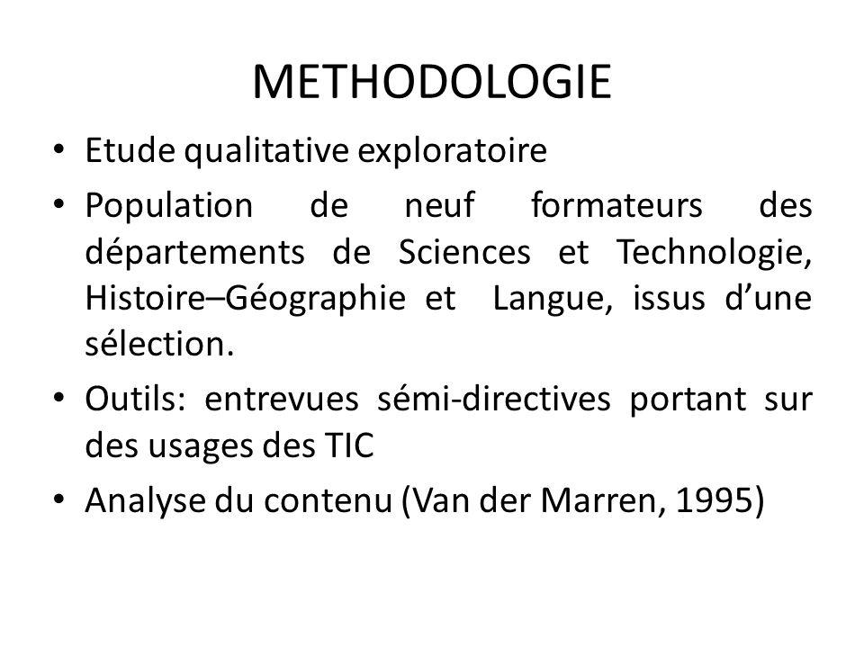 METHODOLOGIE Etude qualitative exploratoire Population de neuf formateurs des départements de Sciences et Technologie, Histoire–Géographie et Langue,