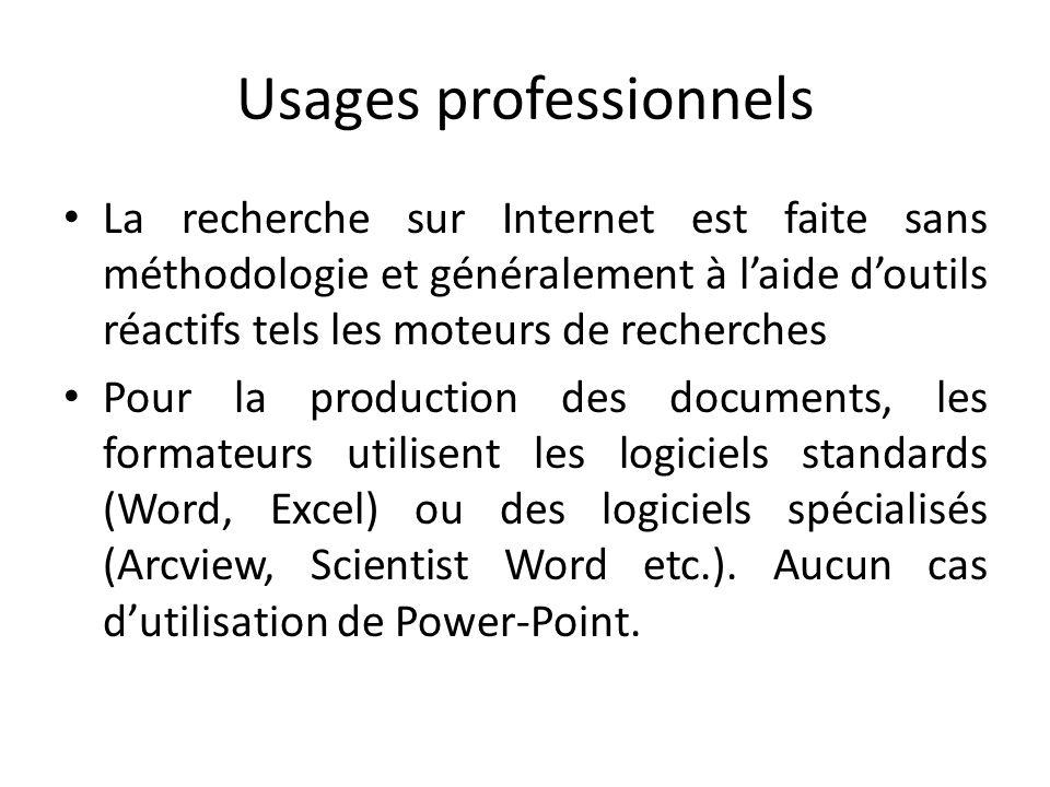 Usages professionnels La recherche sur Internet est faite sans méthodologie et généralement à laide doutils réactifs tels les moteurs de recherches Po