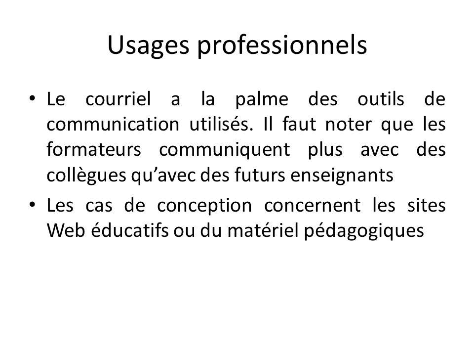 Usages professionnels Le courriel a la palme des outils de communication utilisés. Il faut noter que les formateurs communiquent plus avec des collègu