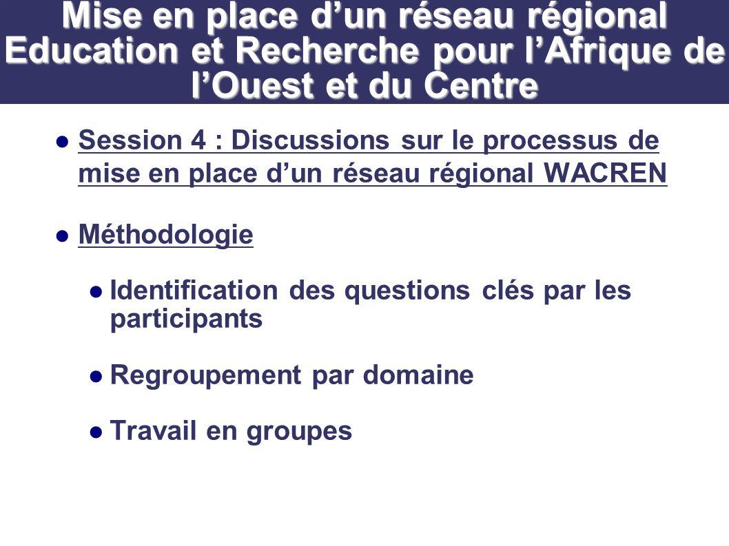 Session 4 : Discussions sur le processus de mise en place dun réseau régional WACREN Méthodologie Identification des questions clés par les participants Regroupement par domaine Travail en groupes Mise en place dun réseau régional Education et Recherche pour lAfrique de lOuest et du Centre