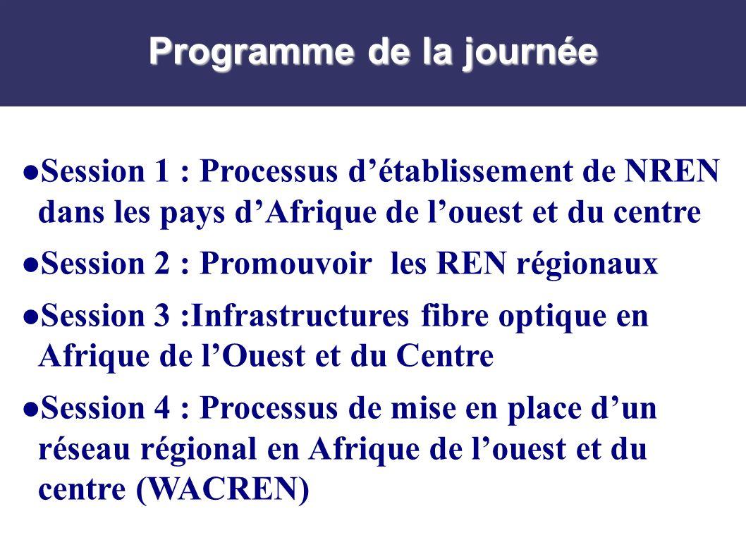 Programme de la journée Session 1 : Processus détablissement de NREN dans les pays dAfrique de louest et du centre Session 2 : Promouvoir les REN régionaux Session 3 :Infrastructures fibre optique en Afrique de lOuest et du Centre Session 4 : Processus de mise en place dun réseau régional en Afrique de louest et du centre (WACREN)