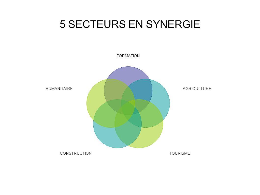 5 SECTEURS EN SYNERGIE FORMATION AGRICULTURE TOURISMECONSTRUCTION HUMANITAIRE