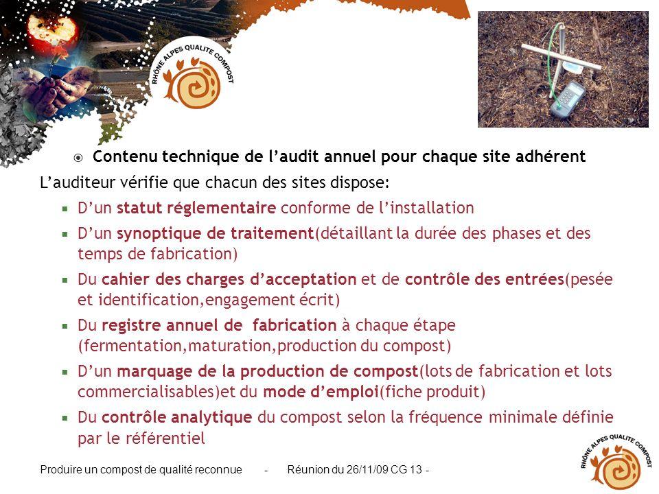 Produire un compost de qualité reconnue - Réunion du 26/11/09 CG 13 - Contenu technique de laudit annuel pour chaque site adhérent Lauditeur vérifie q