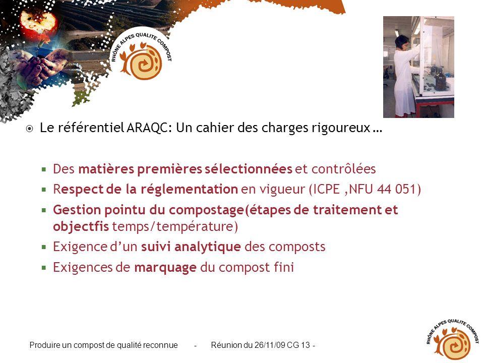 Produire un compost de qualité reconnue - Réunion du 26/11/09 CG 13 - Le référentiel ARAQC: Un cahier des charges rigoureux … Des matières premières s